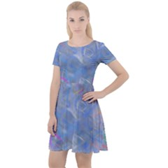 Abstract Triangles Geometric Cap Sleeve Velour Dress