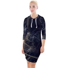 Fractal Abstract Rendering Quarter Sleeve Hood Bodycon Dress