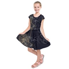 Fractal Abstract Rendering Kids  Short Sleeve Dress by Bajindul