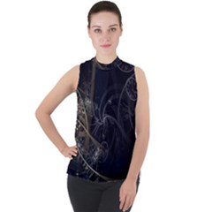 Fractal Abstract Rendering Mock Neck Chiffon Sleeveless Top