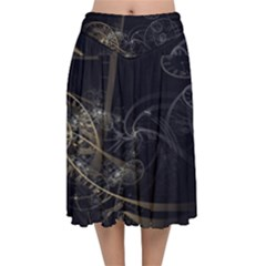 Fractal Abstract Rendering Velvet Flared Midi Skirt by Bajindul