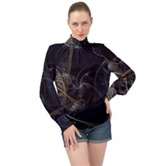 Fractal Abstract Rendering High Neck Long Sleeve Chiffon Top by Bajindul