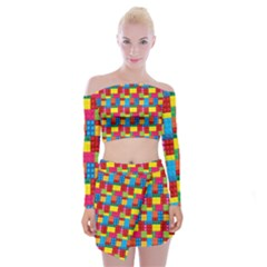Lego Background Off Shoulder Top With Mini Skirt Set