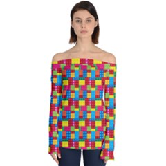 Lego Background Off Shoulder Long Sleeve Top by HermanTelo