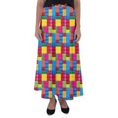 Lego Background Flared Maxi Skirt