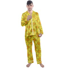 Green Plaid Gold Background Men s Satin Pajamas Long Pants Set by HermanTelo