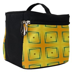 Green Plaid Gold Background Make Up Travel Bag (small)