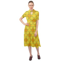 Green Plaid Gold Background Keyhole Neckline Chiffon Dress
