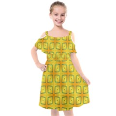 Green Plaid Gold Background Kids  Cut Out Shoulders Chiffon Dress