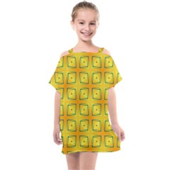 Green Plaid Gold Background Kids  One Piece Chiffon Dress