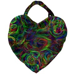 Plasma Shining Lines Light Stripes Giant Heart Shaped Tote by HermanTelo