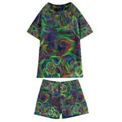 Plasma Shining Lines Light Stripes Kids  Swim Tee And Shorts Set
