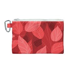 Leaf Design Leaf Background Red Canvas Cosmetic Bag (medium) by Pakrebo