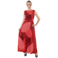 Leaf Design Leaf Background Red Chiffon Mesh Maxi Dress