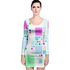 Square Colorful Pattern Geometric Long Sleeve Bodycon Dress