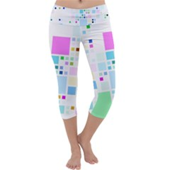 Square Colorful Pattern Geometric Capri Yoga Leggings