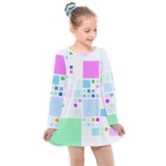 Square Colorful Pattern Geometric Kids  Long Sleeve Dress
