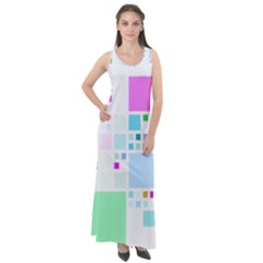 Square Colorful Pattern Geometric Sleeveless Velour Maxi Dress