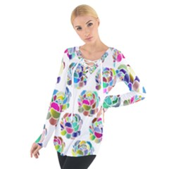 Flowers Floral Pattern Decorative Tie Up Tee
