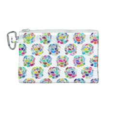 Flowers Floral Pattern Decorative Canvas Cosmetic Bag (medium)