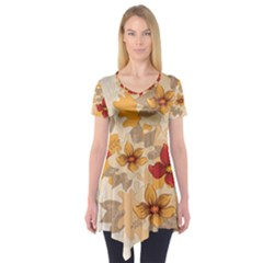 Flower Vector Background Short Sleeve Tunic