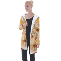 Flower Vector Background Longline Hooded Cardigan