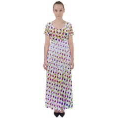 Illustration Abstract Pattern Polka Dot High Waist Short Sleeve Maxi Dress by Pakrebo