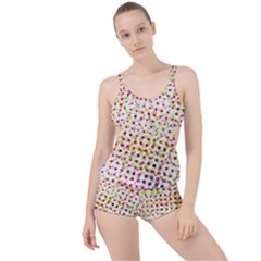 Illustration Abstract Pattern Polka Dot Boyleg Tankini Set