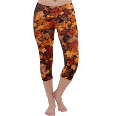 Fall Foliage Autumn Leaves October Capri Yoga Leggings by Pakrebo