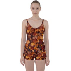 Fall Foliage Autumn Leaves October Tie Front Two Piece Tankini by Pakrebo