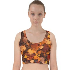 Fall Foliage Autumn Leaves October Velvet Racer Back Crop Top by Pakrebo