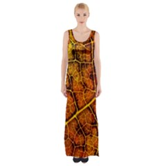 Autumn Leaves Forest Fall Color Maxi Thigh Split Dress