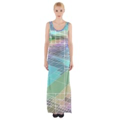 Abstract Lines Perspective Plan Maxi Thigh Split Dress