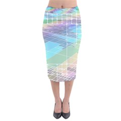 Abstract Lines Perspective Plan Velvet Midi Pencil Skirt
