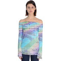 Abstract Lines Perspective Plan Off Shoulder Long Sleeve Top