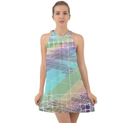 Abstract Lines Perspective Plan Halter Tie Back Chiffon Dress