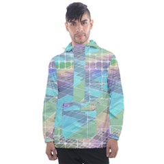 Abstract Lines Perspective Plan Men s Front Pocket Pullover Windbreaker