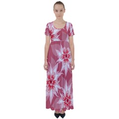 Flower Leaf Nature Flora Floral High Waist Short Sleeve Maxi Dress by Pakrebo