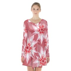 Flower Leaf Nature Flora Floral Long Sleeve Velvet V Neck Dress