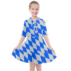 Pattern Geometric Wallpaper White Blue Kids  All Frills Chiffon Dress by Pakrebo