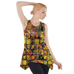 Color Abstract Artifact Pixel Side Drop Tank Tunic