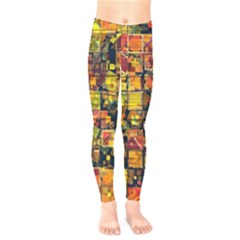 Color Abstract Artifact Pixel Kids  Legging by Pakrebo