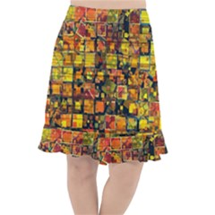 Color Abstract Artifact Pixel Fishtail Chiffon Skirt