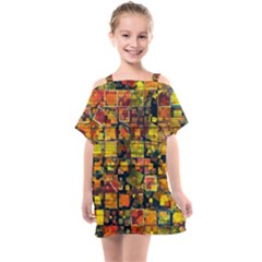 Color Abstract Artifact Pixel Kids  One Piece Chiffon Dress by Pakrebo