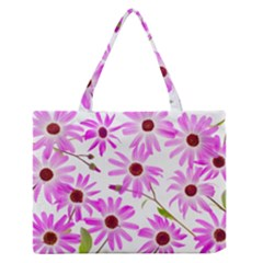 Pink Purple Daisies Design Flowers Zipper Medium Tote Bag by Pakrebo