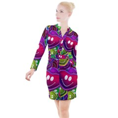 Heart Smile Love Many Friendly Button Long Sleeve Dress