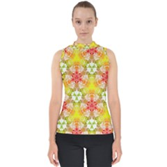 Background Abstract Pattern Texture Mock Neck Shell Top