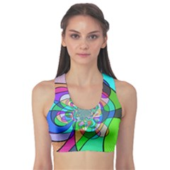 Retro Wave Background Pattern Sports Bra by Pakrebo