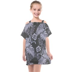 Ornament Flowers Leaf Kids  One Piece Chiffon Dress