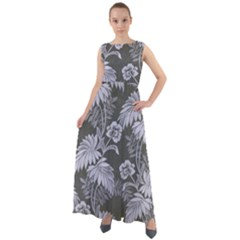 Ornament Flowers Leaf Chiffon Mesh Maxi Dress